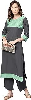 Ziyaa Women's Grey Color Foil Print Straight Crepe Kurta With Palazzo / Salwar Suit Set