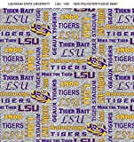 Louisiana State LSU Tigers Fleece Blanket Fabric with Verbiage on Heather Ground-Sold by The Yard Verbiage Heather Fleece Fabric-Fleece Blanket Fabric