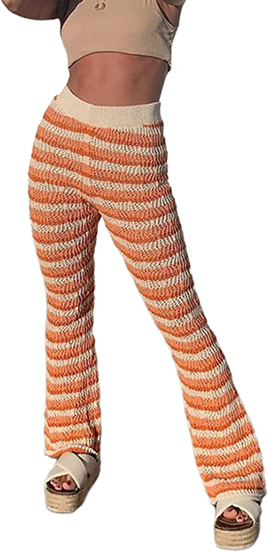 Amuver Womens Fall Fashion Knitted Pants High Elastic Waist Bell Bottom Stripe Knitwear Beach Casual Street Flared Trousers