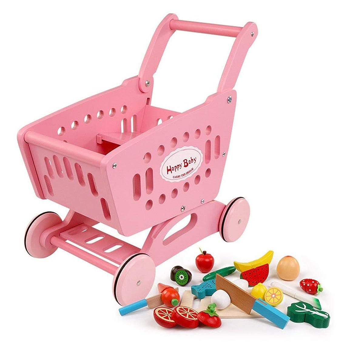 タオルテスピアン役立つショッピングカートのおもちゃ、 36か月齢以上の赤ちゃんに適したシミュレーション木製スーパーマーケットトロリーであるA子供のおもちゃ 子供のおもちゃ (Color : Pink, Size : 40x41x24CM)