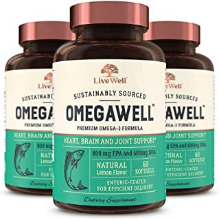 OmegaWell Fish Oil: Heart, Brain, and Joint Support   800 mg EPA 600 mg DHA - Natural Lemon Flavor, Enteric-Coated, Sustai...