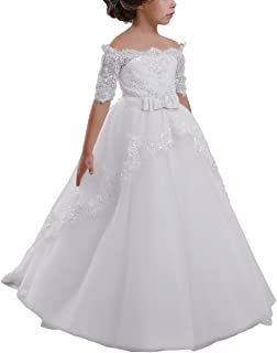 Elegant Flower Girl Lace Beading First Communion Dress 2-12 Years Old All White Size 10