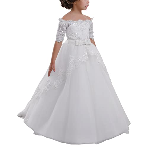 1f8f551ef4d82b Elegant Flower Girl Lace Beading First Communion Dress 2-12 Years Old