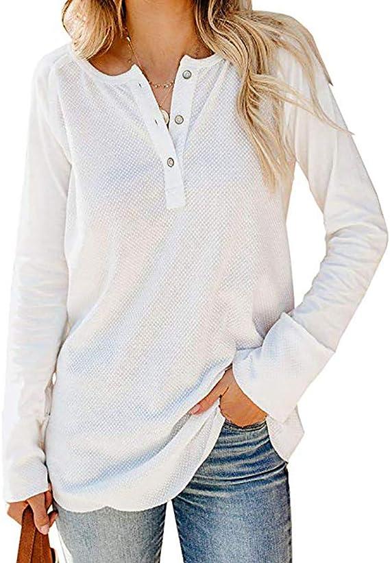 Camisas de Mujeres Blusas Suelto Verano Blusa Suelta de Manga ...