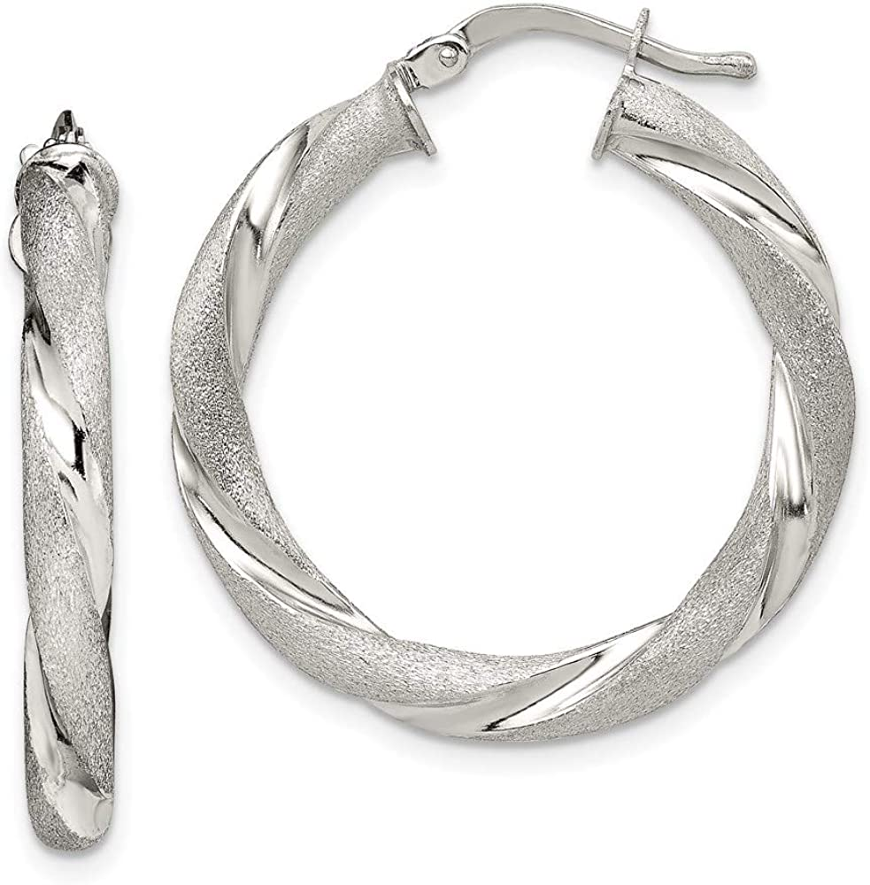 Max 90% OFF Earrings White Sterling Silver Hoop Women'S mm Virginia Beach Mall Satin 28 Poli And