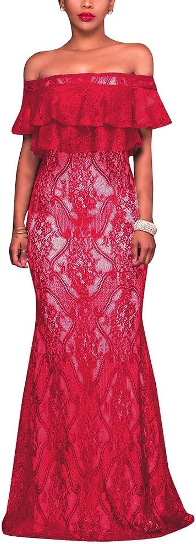 Aro Lora Women's Sexy Lace Off Shoulder Ruffle Evening Party Long Maxi Bodycon Dress