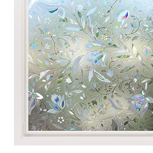 rabbitgoo 3D Statisch Selbsthaftend Fensterfolie Blickdicht Sichtschutzfolie Fenster Milchglasfolie Folie Glasfolie Selbstklebend Dekofolie UV Schutz Blumen 44.5 x 200 cm