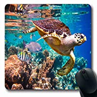 マウスパッドフィッシュホークビルタートルエレモケリスインブリカタ水の下で浮かぶモルディブインド洋サンゴ礁長方形滑り止めゲーミングマウスパッドラバー長方形マット 18x22cm