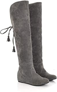 Womens Boots The Knee Flat Warm Boots Thigh High Boots Lace-Up Woman Winter Shoes