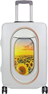 ALAZA Luggage Cover White Plane Window Sunflower Travel Case Suitcase Bag Protector 29 30 31 32 Inch