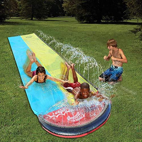 Best Deals! TBBA Double Water Slide Sports World of Watersports Backyard Waterslide for Kids Lawn Ga...
