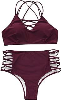 SEASELFIE Women's High Waisted Push Up Cross Padding Bikini Bathing Suit