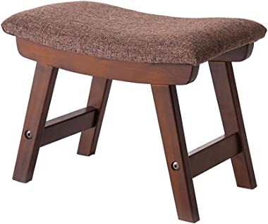 WZ Ottomans Stool Pouffe Ottoman Wood Elegantly Curved Footstool Rest Chair Living Room Bedroom Dark Brown
