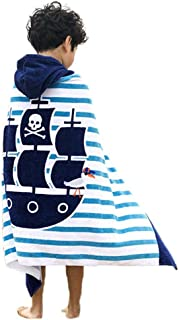 Violet Mist Kid Hooded Towel Cotton Beach Poncho Bath Towel for Boys(Pirate Ship)