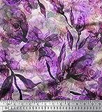 Soimoi Lila Satin Seide Stoff Blumen & Textur Stoff Drucke