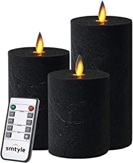 smtyle Black Flameless Candles Halloween Decor Haunted Prop Set of 3 Battery Operated with Moving Flame Wick Flickering LED Pillar Candle 3 x 4/5/6inch