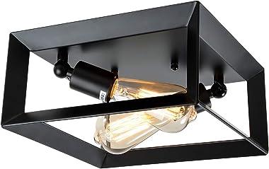 HMVPL 2-Lights Farmhouse Close to Ceiling Light, Black Semi Flush Mount Lighting Fixture Industrial Ceiling Lamp for Kitchen