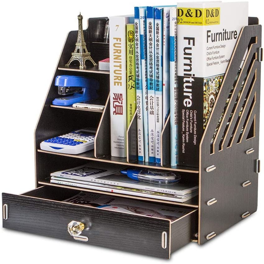 JLHBM Wooden Multifunctional Folder Ranking TOP11 Bookshelf Desktop Stationer Los Angeles Mall
