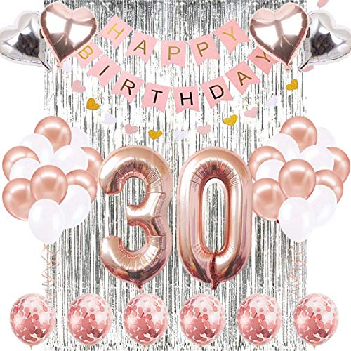 30st Rose Gold Birthday Decorations,Pink Happy Birthday Banner,Silver Foil Fringe Curtains,30th Rose Number Balloons Confetti Balloons for 30th Birthday Decorations