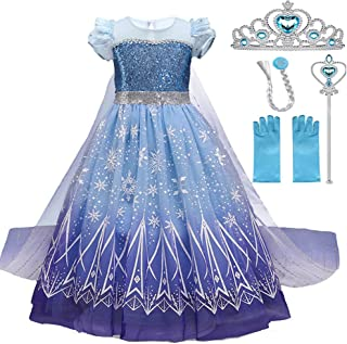 zaipin snow queen Costume for Kids Girls Tulle Dress halloween Toddler Princess Dress Up Birthday Party Cosplay Outfits