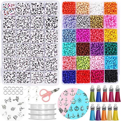Queta DIY Kit de Fabricación de Joyas Collar Colgante Pulsera Conjunto con 1200 Cuentas de Alfabeto, 3800 Mini Cuentas de Colores, Líneas, Tijeras Pequeñas y Otros Accesorrios