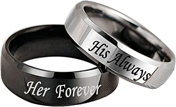 His Always/Her Forever Ring Black Silver Stainless Steel Promise Rings Anniversary Engagement Wedding Band for Men Women