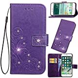 Vodafone Smart First 7 Case, Abtory Leaf Embossing Painting 3D Bling Diamond Magentic PU Wallet Case Card Slots Stand Case for Vodafone Smart First 7 with Wrist Strap Purple