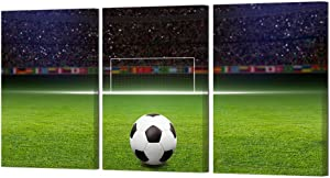HOMEOART 3 Panels Canvas Wall Art Soccer Ball on Green Huge Football Field with Soccer Gate Picture Poster Sports Painting Home Wall Decor for Boys Bedroom