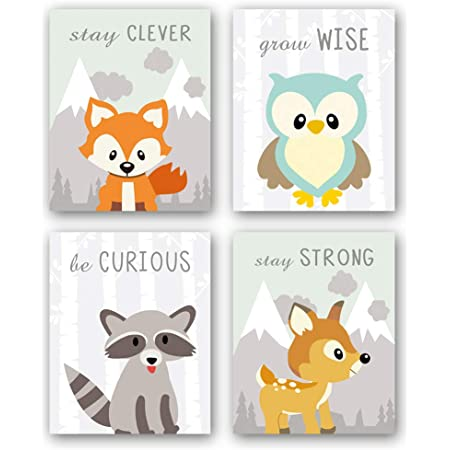 Amazon Com Unframed Woodland Animals Art Print Adorable Fox Owl Racoon Deer Wall Art Painting Set Of 4 8 X10 Canvas Cartoon Inspirational Picture For Kids Room Nursery Decor Home Kitchen