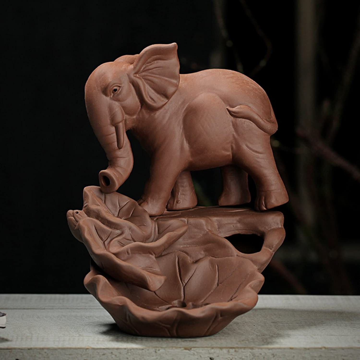 Back Ceramics Purple Clay Elephant Household Living Room Office Decoration-A