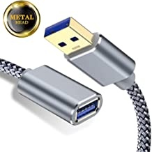 Capshi USB Extension Cable 3.0 - A-Male to A-Female - 1 Pack 3Ft USB 3 Extension Cord Nylon Braided USB3 Keyboard/Mouse Cable Extender High Speed USB Controller Drive Extension Cable 1M