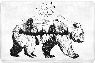 InterestPrint Wildlife Concept Hand Drawn Bear Animal Doormat Non-Slip Indoor and Outdoor Door Mat Rug Home Decor, Entranc...