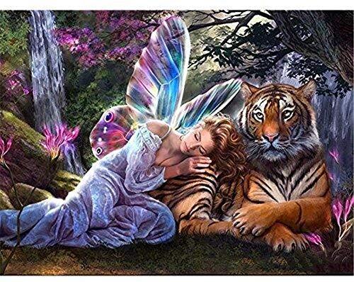 A-Generic con números Pintura DIY Kit de números Pintados a Mano 40x50cm Fairy Butterfly Tigre Oil Pintura Digital Pintura Digital para Adultos