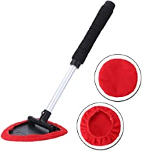 Aebitsry Windshield Cleaner Tool,Car Window Windshields Washing Brush, Wonder Cleaning Inside Interior Auto Glass Wiper Kit with Extendable Handle, 2PCS Washable and Reusable Pads (Red)