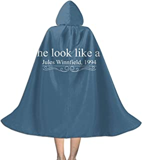 NSHANGMA Pulp Fiction Jules Winnfield Movie Quote Unisex Hooded Cloak Cape Halloween Party Decoration Role Cosplay Costumes Black