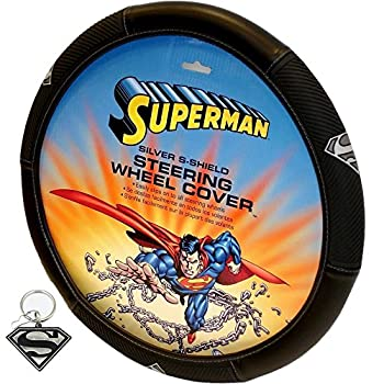 2 PC SUPERMAN SILVER STEERING WHEEL COVER AND METAL KEY CHAIN UNIVERSAL SET