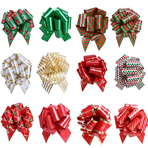 Christmas Pull Bows Christmas Bows Presents Wrapping Paper for Holiday Decoration Pack of 12