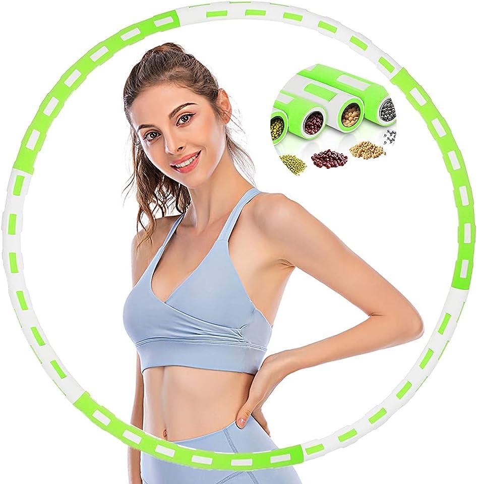 HTDZSW Hula Hoop Reifen Erwachsene, Fitness Hoola Hoop Reifen von 1 bis 4kg Einstellbares mit Dicker Premium Schaumstoff, Abnehmbarer Hullahub Reifen zum Abnehmen und Massage