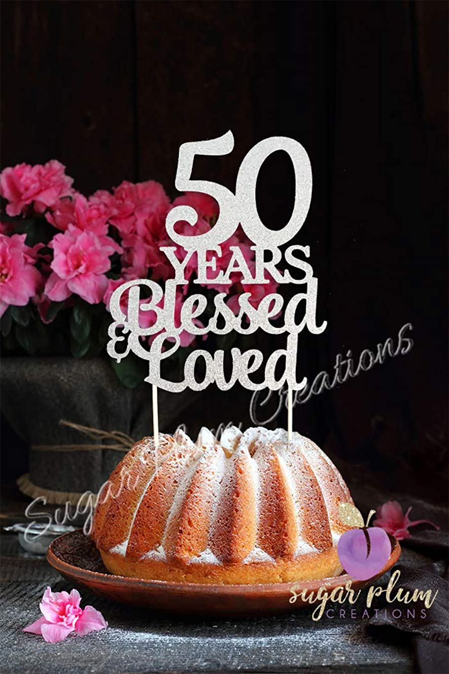 Sugar Plum Creations 50 Years Blessed & Loved Silver Glitter