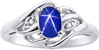Diamond & Blue Star Sapphire Ring Set In Sterling Silver Birthstone