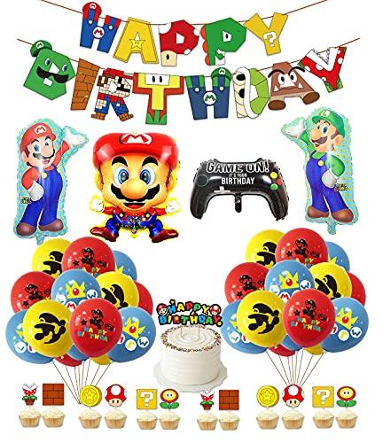 Cumpleaños Globos de Super Mario Banner de Cumpleaños de Super Mario Adornos para Pastel Mario Bros Globos de Aluminio de Mario Bros para Niñas Niños Decoraciones para Fiestas de Cumpleaños