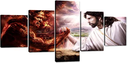 """Yatsen Bridge 5 Pieces Jesus VS Satan Wall Art Canvas Painting Jesus Christ Arm Wrestling with Devil Picture Prints Artwork for Living Room Bedroom Stretched and Framed Ready to Hang (50""""Wx24""""H)"""