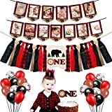Lumberjack First Birthday Party Supplies Decorations - Buffalo Plaid Rustic Hunter High Chair Banner, Wild Bear Monthly Photo Banners, Camping Bear Cake Topper, Woodland One Crown, 12' Latex Balloons