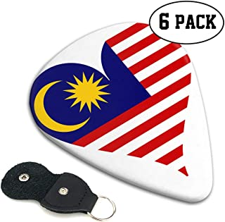 RLCC7NW Malaysia Heart Guitar Picks for Acoustic, Electric and Bass Guitars 0.96/0.71/0.46mm (6-Pack)