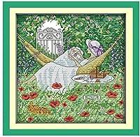 クロスステッチ大人、初心者11ctプレプリントパターン刺繡の女性40x50cmDIYスタンプ済み刺繍ツールキットホームの装飾手芸い贈り物40x50cm(フレームがない )