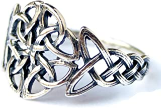 Trinity Celtic Knot Viking Motif Ring for Women Silver Scandinavian Norse Wiccan Jewelry Celtic Rings for Women