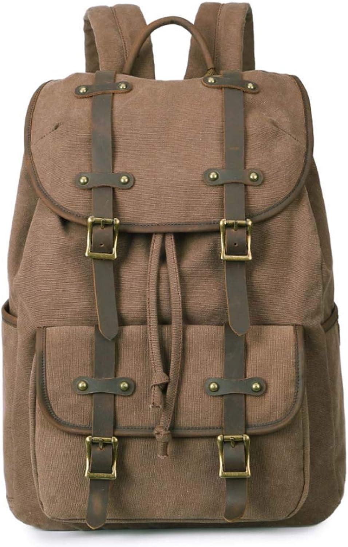 Men's Backpack, Canvas Bag Outdoor Travel Backpack Waterproof Leather Men's Bag Men's Backpack Men