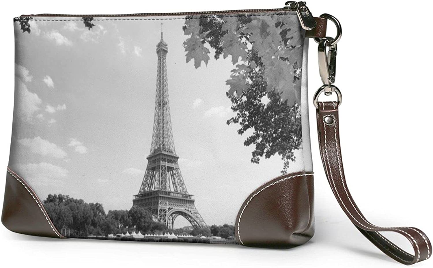 Wallet Resting Elephant Printed Ladies Wristband Handbag Leather Clutch 8 X 5.5 X 1.5 Inches