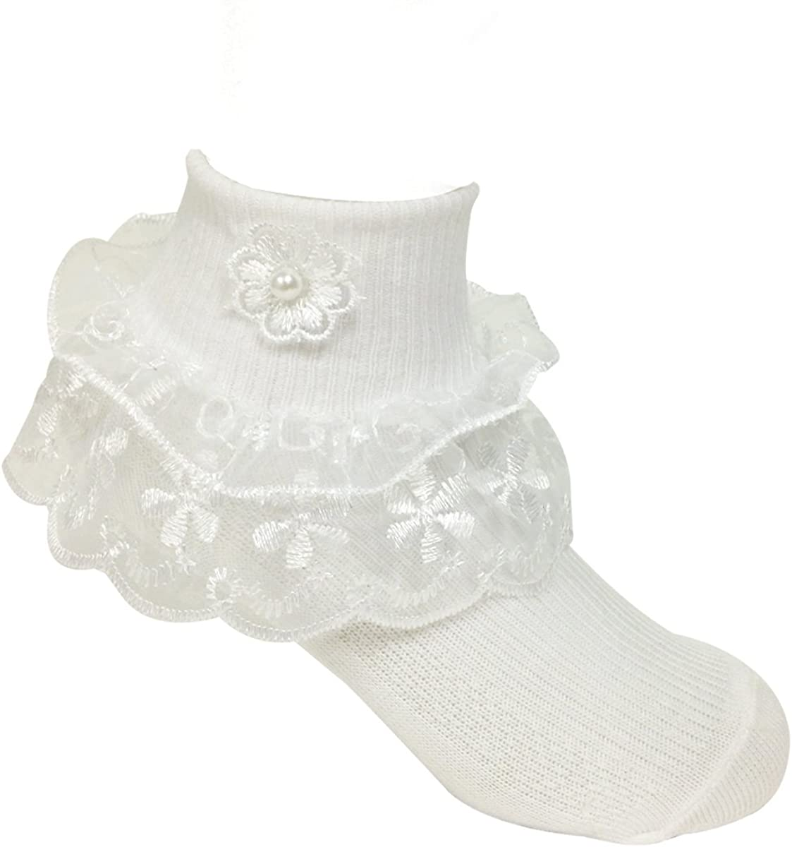 Wrapables Lil Miss Daisy Double Layer Lace Ruffle Socks, Set of 2