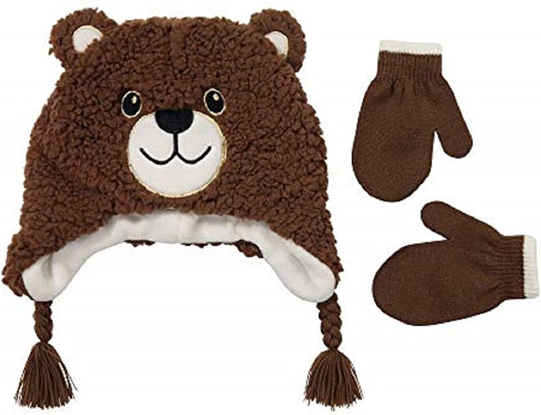 Winter Hat and Glove Set for Boys and Girls, Assorted Designed Kids Hat and Mittens